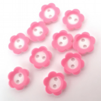 10 Flower buttons pink daisy size 18 sewing craft 2 hole Buttons