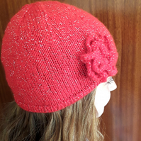 Hand knitted red beanie hat ladies, girls winter hat