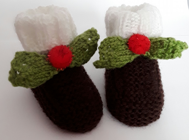 Christmas Pudding Outfit.Hand Knitted Christmas Baby Booties Xmas Pudding Outfit 0 3 Months