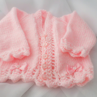 Knitted pink baby cardigan 16 inch