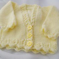 Hand Knitted baby girl cardigan 16 inch