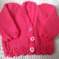 Hand knitted pink baby cardigan 16 inch