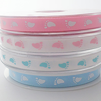 Baby feet footprint ribbon 10mm x 3 metres