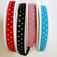 Polka dot Satin ribbon 10mm wide x 5 metres