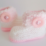 Hand knitted Baby Girl Fluffy Boots