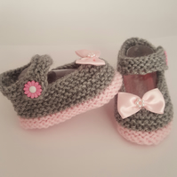 Hand knitted Mary Jane Baby Girl shoes