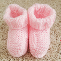 Hand knitted Baby Girl Pink Booties