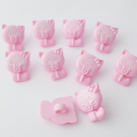 10 pink buttons cat shape 15mm with shanks