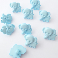 10 blue baby Elephant buttons 15mm