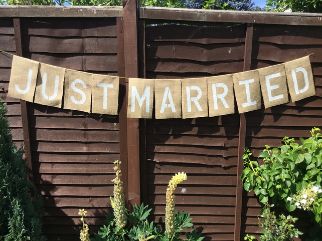 JUST MARRIED Hessian Vintage Wedding Bunting Banned