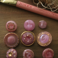 lot of 9 mixed designs sizes shapes soft pink & gold vtg czech glass buttons