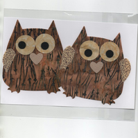 ChrissieCraft creative sewing KIT - 2 adorable die-cut OWLS for applique