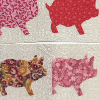 ChrissieCraft ready-made appliqued PIGGIE patchwork blocks x 9