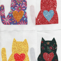 ChrissieCraft appliqued PATCHWORK BLOCKS x 9 assorted