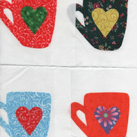 "ChrissieCraft appliqued COFFEE MUGS patchwork blocks 6"" square x 9"
