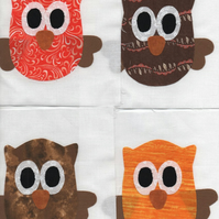 ChrissieCraft appliqued OWL patchwork blocks x 9
