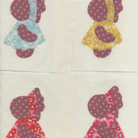 ChrissieCraft ready-made appliqued vintage SUNBONNET SUE patchwork blocks x 9