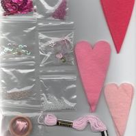 ChrissieCraft creative embellished hanging felt HEARTS kit