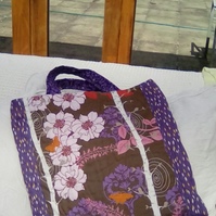 Hand embroidered and finished quilted quality fabric TOTE BAG - unique