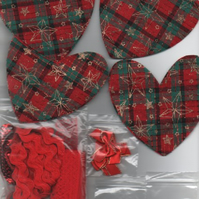 ChrisseCraft KIT for 4 hanging embellished CHRISTMAS HEARTS
