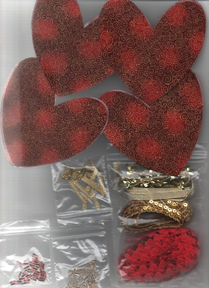 ChrissieCraft creative sewing KIT for 4 embellished CHRISTMAS HANGING HEARTS
