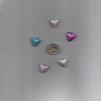 ChrissieCraft pack of 5 assorted glittery metal HEART BELLS with top loop