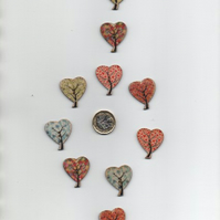 ChrissieCraft pack of 10 assorted colourful wooden HEART craft buttons