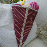ChrissieCraft useful spotty KITE shaped patchwork project bag