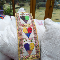 ChrissieCraft Folkart hearts small quilted and embroidered wall-hanging