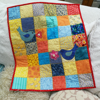 ChrissieCraft hand-finished embellished appliqued cotton BABY CRIB QUILT