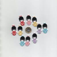 ChrissieCraft 10 assorted colourful printed wooden JAPANESE GIRL craft buttons