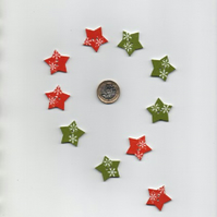 ChrissieCraft hand-finished painted wooden STAR craft buttons