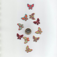 ChrissieCraft 10 assorted colourful printed wooden BUTTERFLY craft FLATBACKS