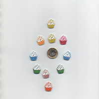 ChrissieCraft 10 assorted colourful painted wooden CUPCAKE craft buttons