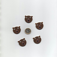 ChrissieCraft 5 cute painted GRIZZLY BEAR wooden CRAFT BUTTONS