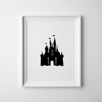 Black And White Little Girls Castle Print