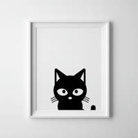 Black And White Cat Print