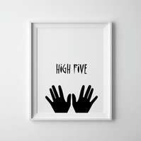 Black And White High Five Hands Print