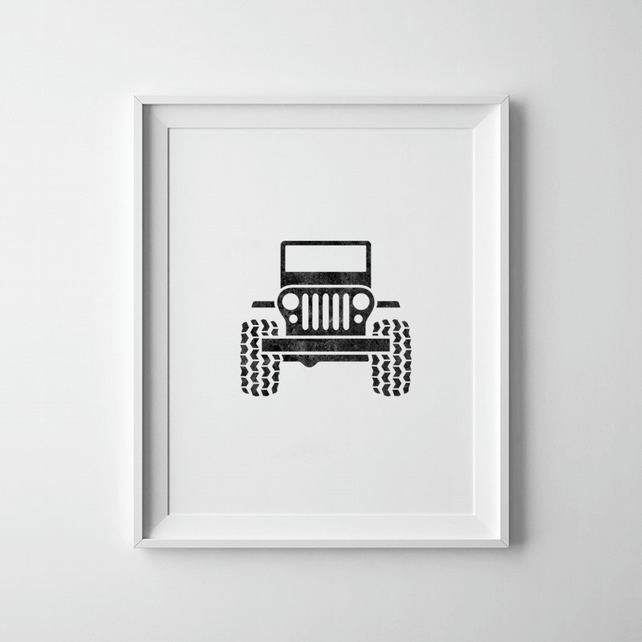 Black And White Toy Truck Print