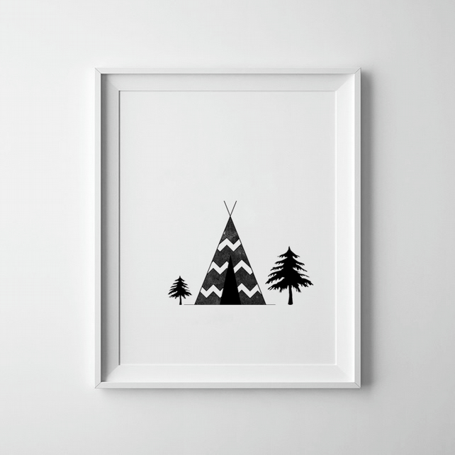 Black And White Wigwam Graphical Print