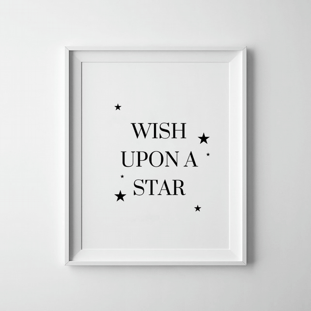 Black And White Wish Upon A Star Print