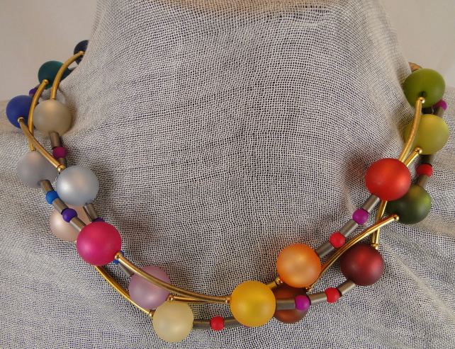 Multi coloured 3 strand necklace.  Rainbow colours using gorgeous Polaris beads