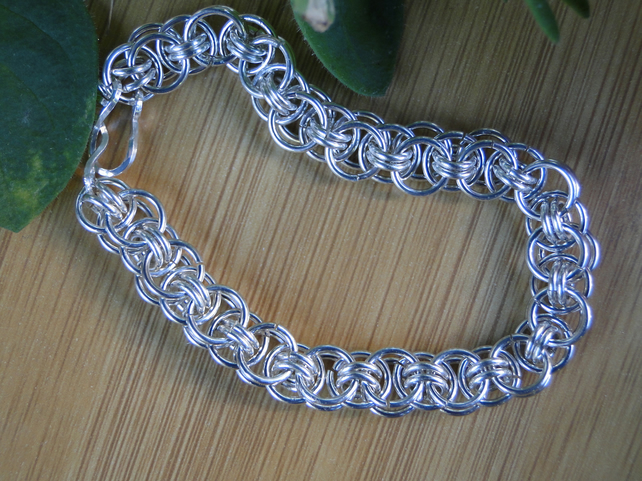 Sterling silver chainmaille bracelet.  Helms Weave.