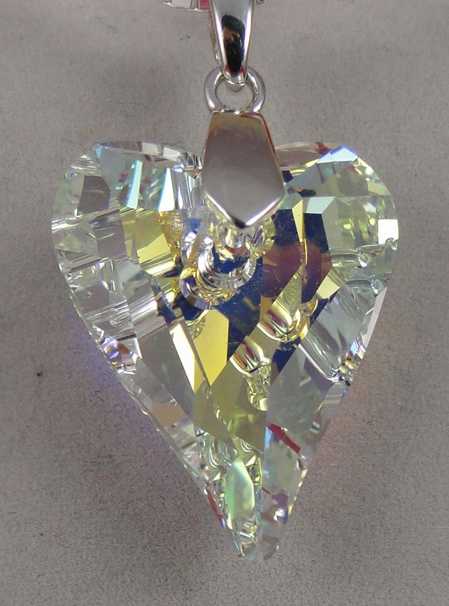 Swarovski heart pendant on sterling silver bail. Beautiful gift.