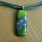 Unique Fused Dichroic glass pendant.- green and multicolours