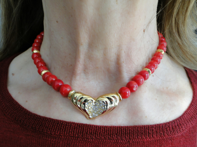 Red coral necklace with gold heart and crystal focal