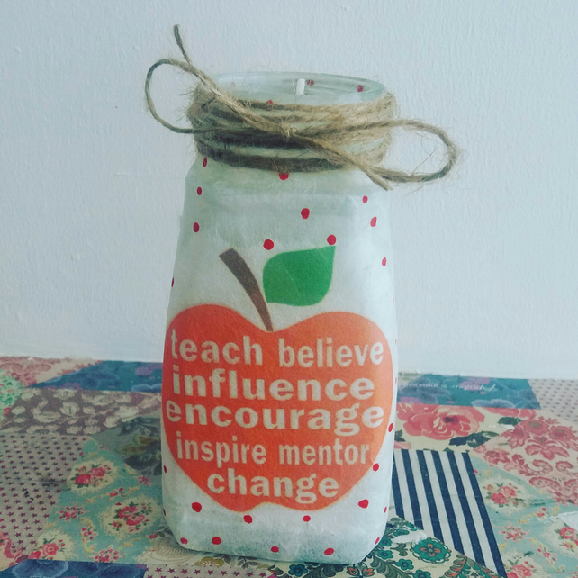 teacher apple end of term candle