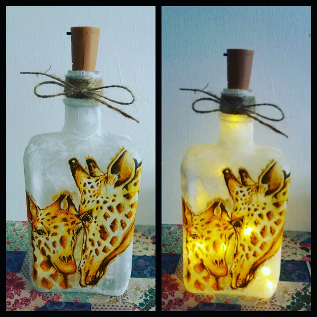 giraffe mother and baby bottlelamp