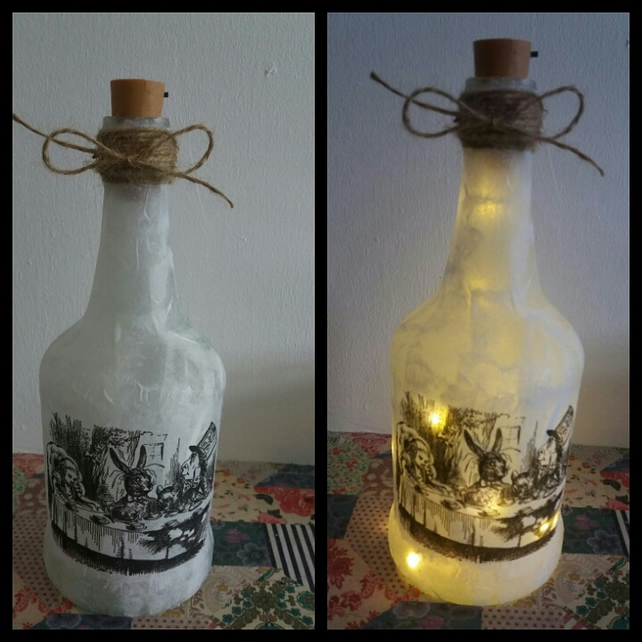 alice in wonderland teaparty bottle lamp