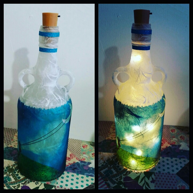 chasing the moon bottle lamp